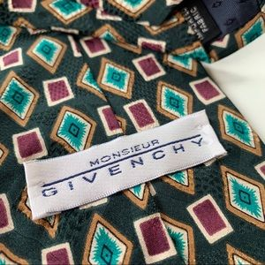 Givenchy Monsieur Green Pattern Mens Tie